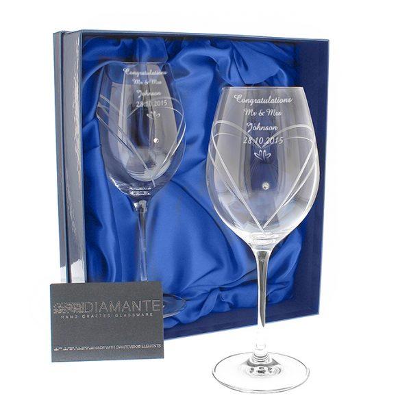 Personalised Crystal Wine Glasses With Swarovski Elements