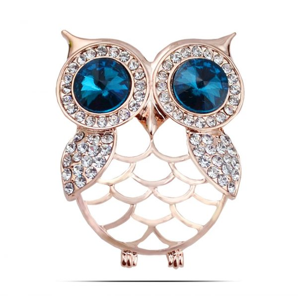 Diamante Turquoise Blue Eyed Owl Pin Brooch