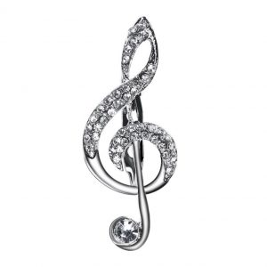 diamante musical note pin brooch
