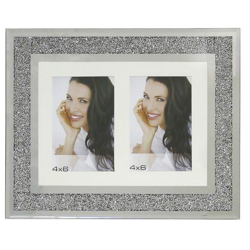Twin Aperture Swarovski Crystal Filled Photo Frame