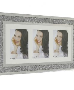 Horizontal Triple Aperture Swarovski Crystal Filled Photo Frame