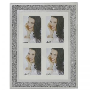 Multi Aperture Swarovski Crystal Filled Photo Frame Holds 4 6x4 Photos