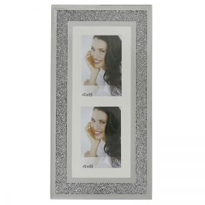 Vertical Twin Aperture Swarovski Crystal Filled Photo Frame