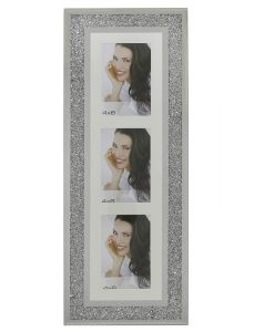 Vertical Triple Aperture Swarovski Crystal Filled Photo Frame