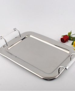 Rectangular Stainless Steel Serving Tray With Swarovski Crystal Filled Handles