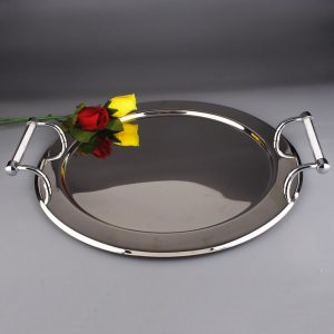 Round Stainless Steel Serving Tray With Swarovski Crystal Filled Handles