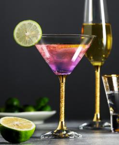Pair of 24ct Gold Leaf Filled Stem Cocktail Glasses Martini