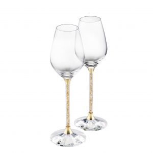 Pair of Wine Glasses with Gold Swarovski Crystal Filled Stem