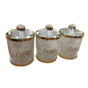 Tea Coffee Sugar Canister Set Storage Jar with Swarovski Crystals