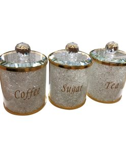 Tea Coffee Sugar Canister Set Storage Jar with Swarovski Crystals