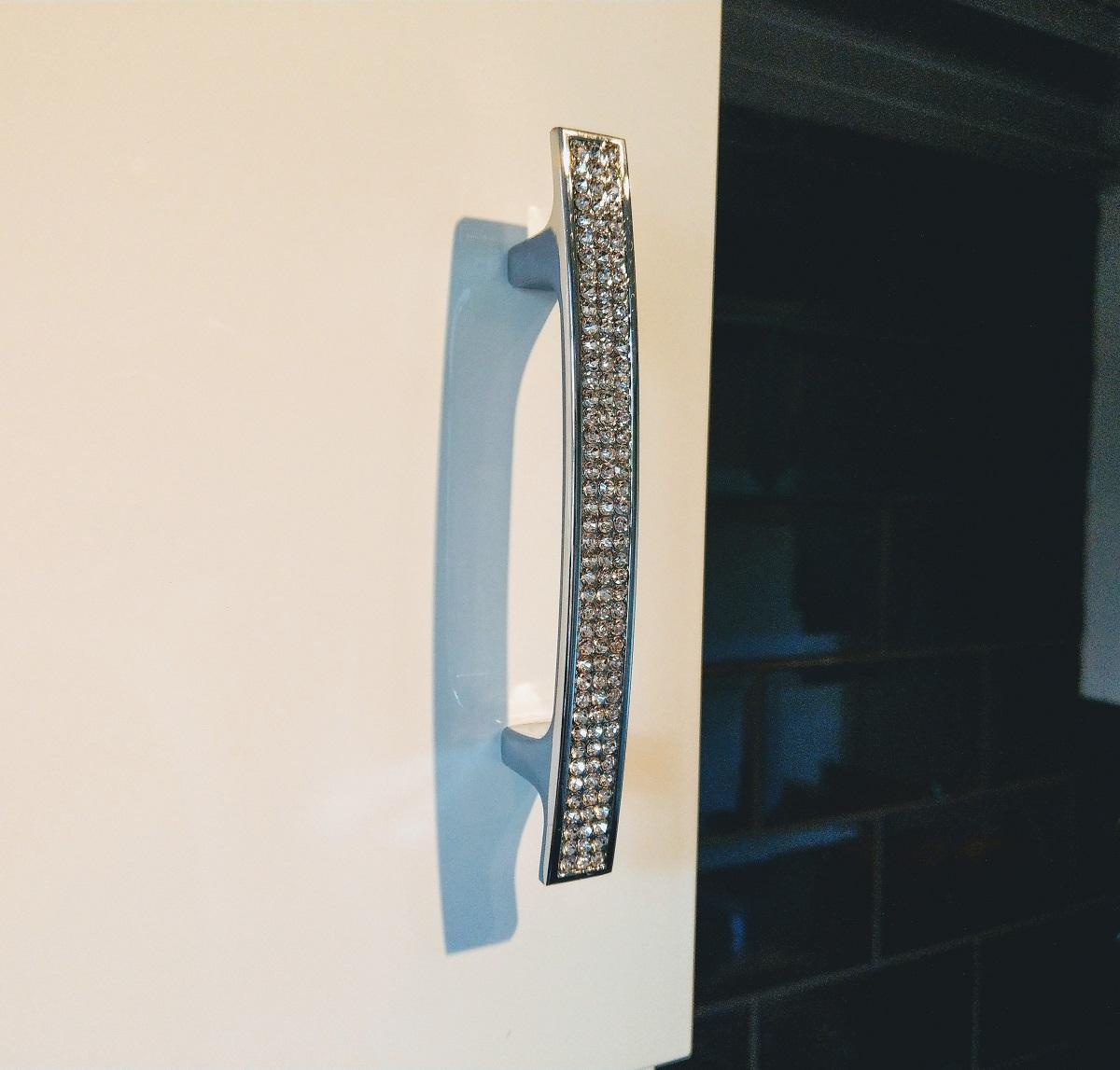 Chrome Cupboard Door Furniture Handle With Swarovski