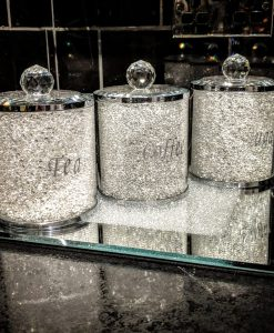 Silver Tea Coffee Sugar Canister Set Storage Jar with Swarovski Crystals