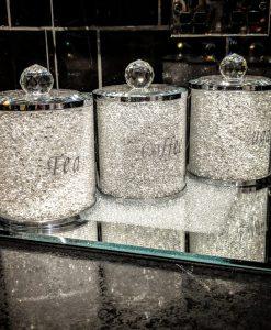 Silver Tea Coffee Sugar Canister Set Storage Jar with Swarovski Crystals