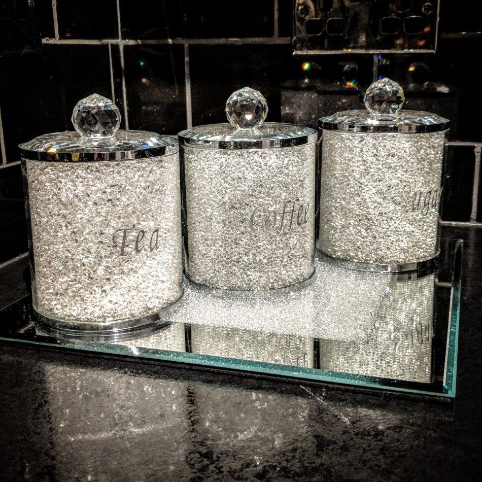 88a77c260d9 Silver Tea Coffee Sugar Canister Set Storage Jar with Swarovski Crystals