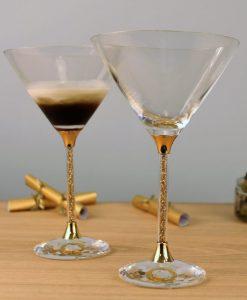 Pair of 24ct Gold Leaf Filled Stem Cocktail Glasses
