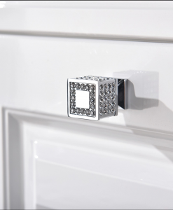 Square Kitchen Bedroom Wardrobe Cabinet Door Knob Handle with Swarovski Crystals