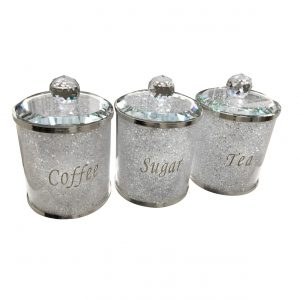 Silver Tea Coffee Sugar Canister with Swarovski Crystals