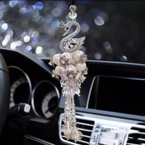 Christmas Swan Tree Decoration With Swarovski Crystals