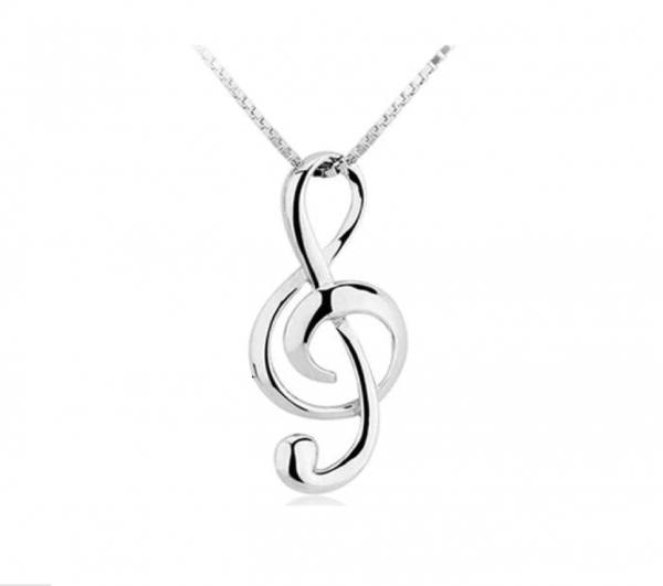 Sterling Silver Musical Treble Clef Pendant Necklace