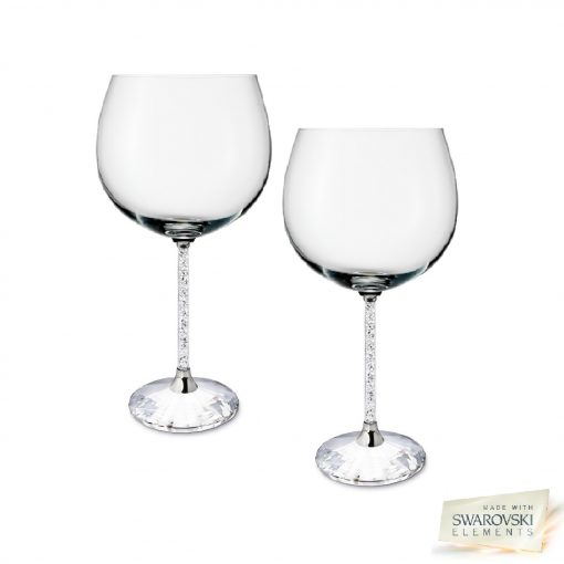 Pair of Swarovski Crystal Filled Stem Gin Glasses