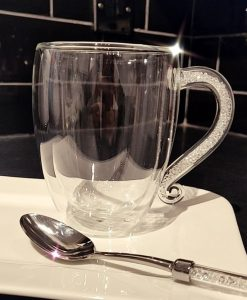 Double Wall Coffee Mugs with Swarovski Crystal filled Handle