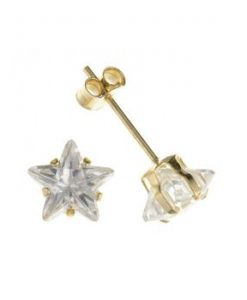 9ct Gold Star Shaped Swarovski Stud Earrings