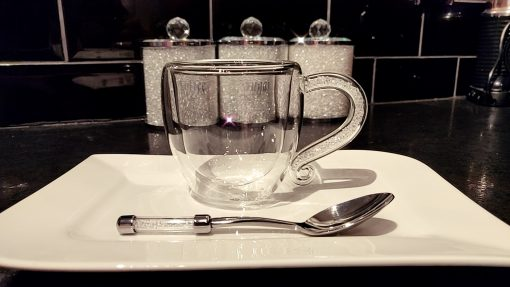 Double Wall Coffee Mug & Teaspoon Gift Set with Swarovski Crystals