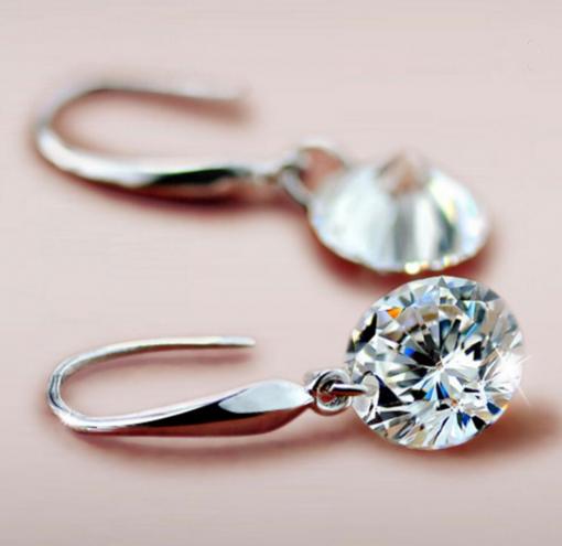 Silver Swarovski Crystal Drop Earrings