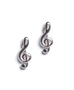 Sterling Silver Treble Clef Musical Note Stud Earrings