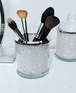 Bathroom Storage Jar with Swarovski Crystals Cotton Wool Make Up Brush Holder