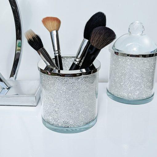 Bathroom Storage Jar with Swarovski Crystals Cotton Wool Make Up Brush Holder
