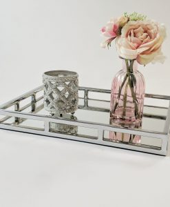 Rectangular Stainless Steel Serving Tray by Diamond Affair