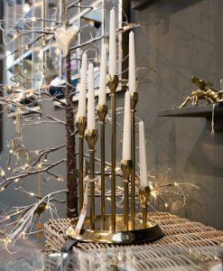 Brass Circular Multi Candle Holder Centrepiece