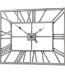 Contemporary Brushed Silver Rectangular Skeleton Wall Clock