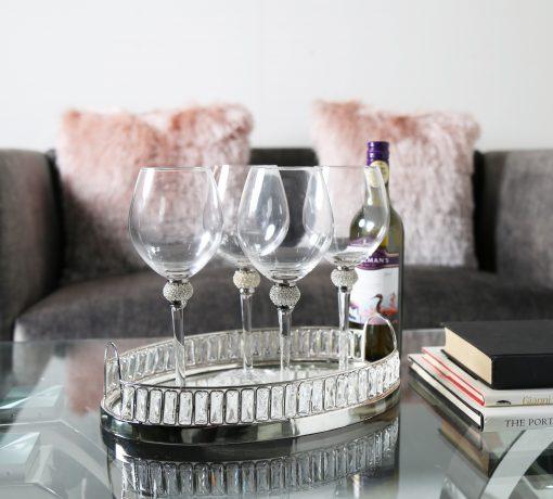 Set of 4 Wine Glasses with Swarovski Crystal Elements
