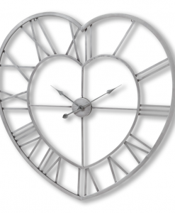 Contemporary Brushed Silver Skeleton Heart Shaped Wall Clock