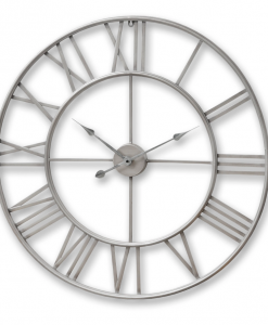 Contemporary Brushed Silver Skeleton Large Round Wall Clock