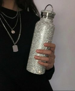 Re-usable Stainless Steel Water Bottle with Swarovski Crystal Elements